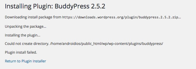 Could not create directory WordPress