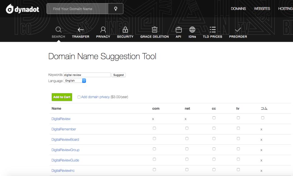 dynadot domain suggestion tool