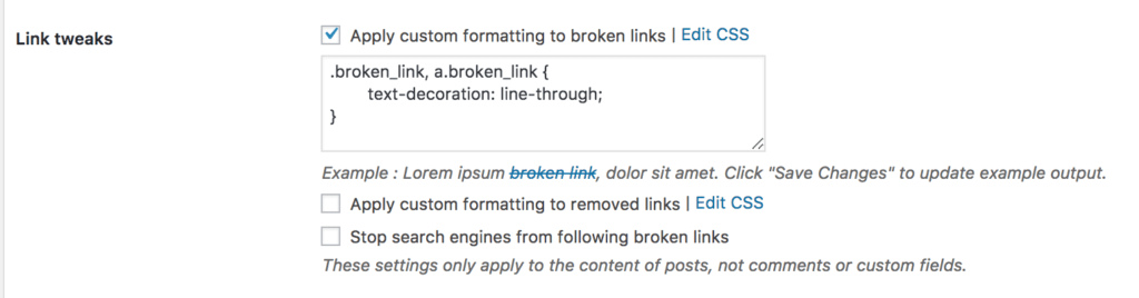 Strikethrough links wordpress